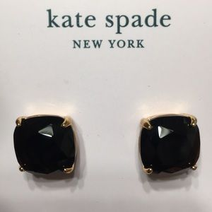 KATE SPADE earrings jet black gold metal NEW